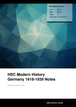 HSC Modern History HSC Modern History Germany 1918-1939 Notes