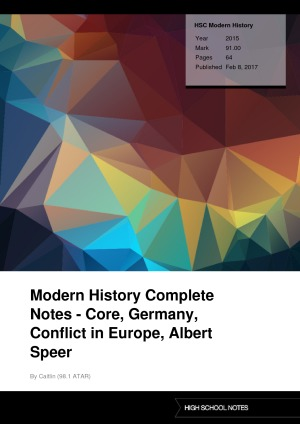 HSC Modern History Modern History Complete Notes - Core, Germany, Conflict in Europe, Albert Speer